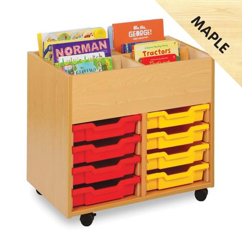 Mobile 4 Bay Kinderbox with 8 Shallow Trays Maple