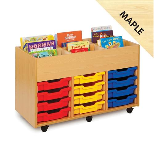 Mobile 6 Bay Kinderbox with 12 Shallow Trays Maple