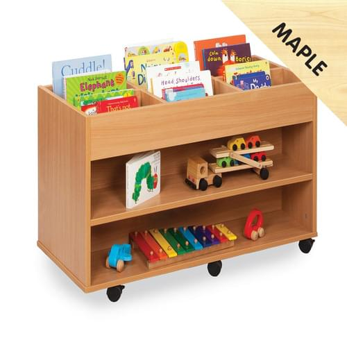 Mobile 6 Bay Kinderbox with 1 Fixed Shelf Each Side Maple