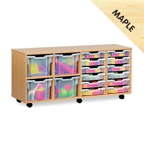 12 Shallow & 4 Extra Deep Cobination Tray Mobile Storage Unit Maple