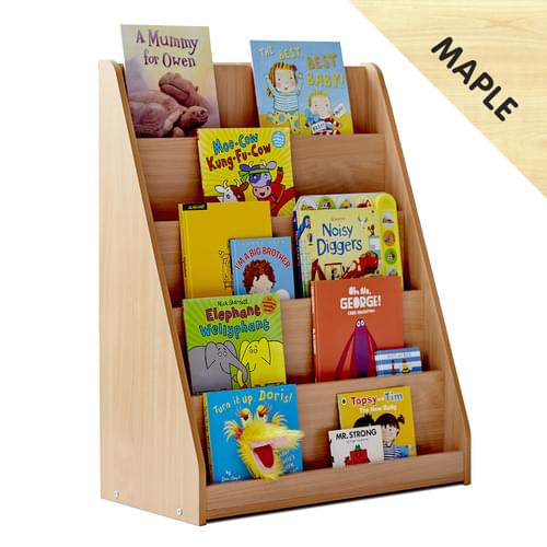 Library Unit with 5 Tiered Fixed Shelves Maple