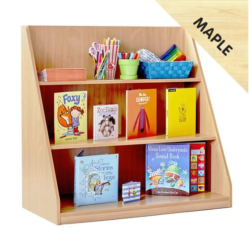 Library Unit with 3 Fixed Straight Shelves Maple