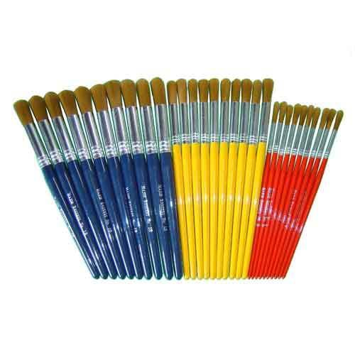 Golden Nylon Short Round Brushes Pk30
