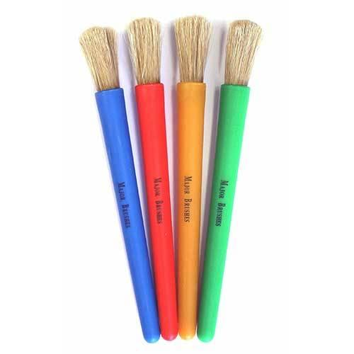Junior Chubby Brushes Assorted Handle Colours Pk4