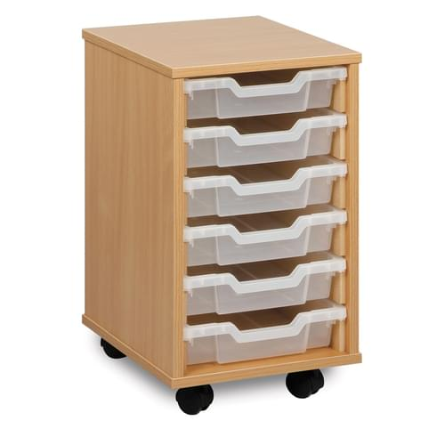 6 Shallow Tray Mobile Storage Unit Beech