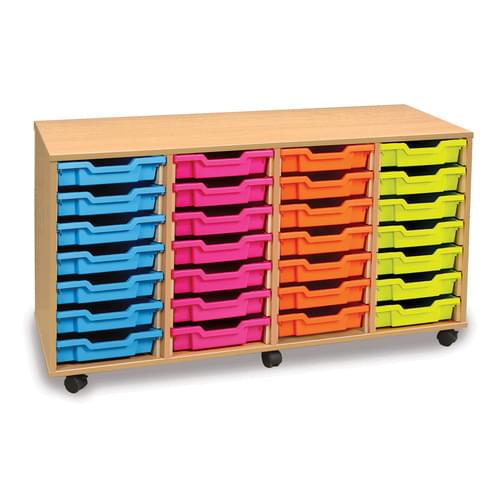 28 Shallow Tray Mobile Storage Unit Beech