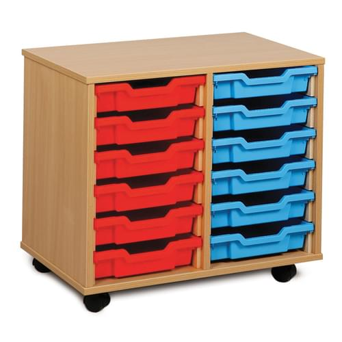 12 Shallow Tray Mobile Storage Unit Beech