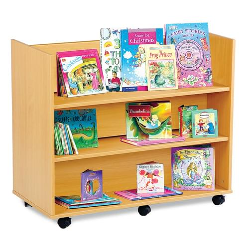 Mobile Library Unit with 3 Horizontal Shelves Each Side Beech