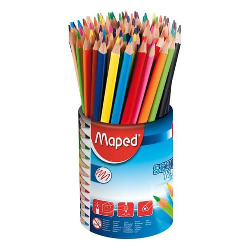 Maped School Peps Triangular Colouring Pencils Assorted Tub of 72