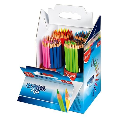 Maped School Peps Triangular Colouring Pencils Assorted Classpack of 144