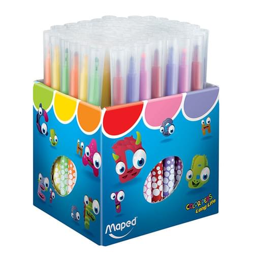 Maped Color'Peps Long Life Colouring Felt Pens Assorted School Pack of 72