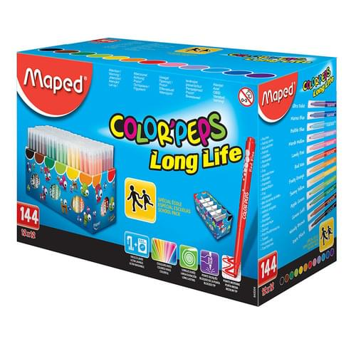 Maped Color'Peps Long Life Colouring Felt Pens Assorted School Pack of 144