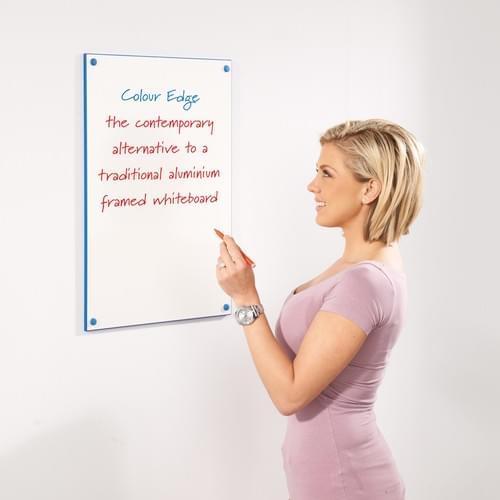 WriteOn Colour Edged Whiteboard W1200 x H900mm Blue