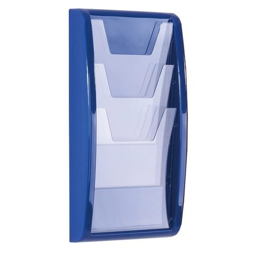 Panorama Wall Mounted Literature Holder 3x A4 Blue