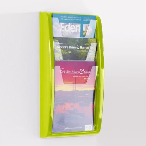 Panorama Wall Mounted Literature Holder 3x A4 Lime