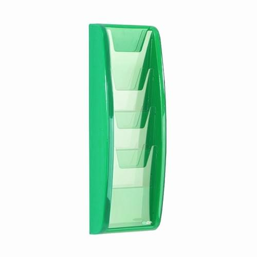 Panorama Wall Mounted Literature Holder 4x A5 Green