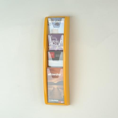 Panorama Wall Mounted Literature Holder 4x 1/3A4 Orange