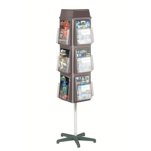 Traditional 4 Sided Revolving Literature Dispenser 12x A4 Grey