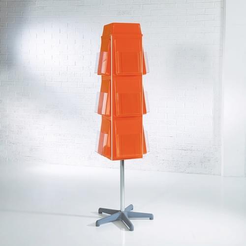 Vibrant 4 Sided Revolving Literature Dispenser 16x A5 Orange
