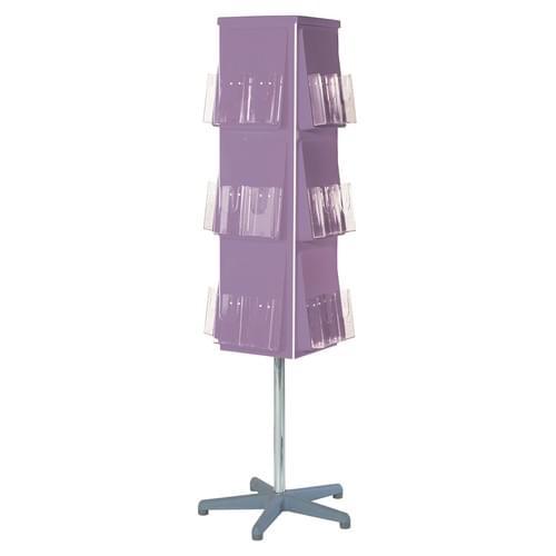 Vibrant 4 Sided Revolving Literature Dispenser 32x 1/3A4 Lilac