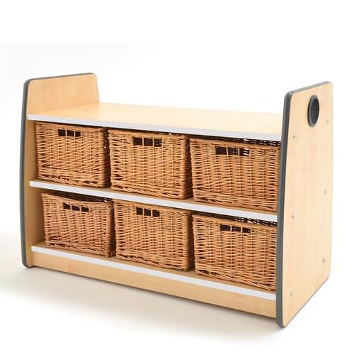 Colouredge Double Shelf Unit with Baskets & Grey Trim