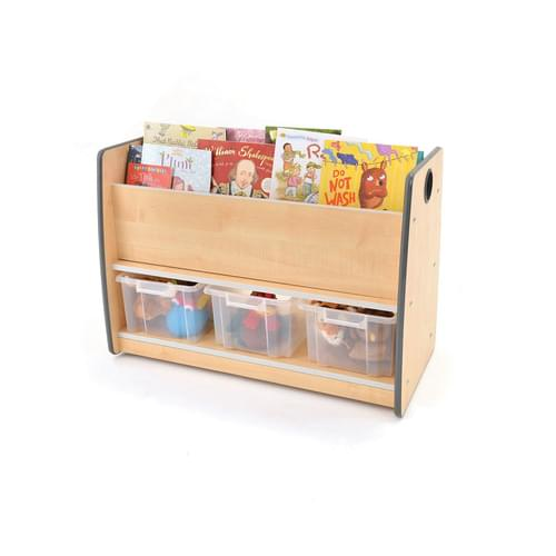 Colouredge Floor Book Unit with Clear Tubs & Grey Trim