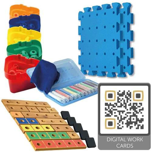 Pegs to Count Up Exploring Numbers 1-5 Carbonated Bamboo Set (with QR codes)