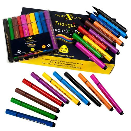 Triangular Colouring Pens 10 Assorted Colours