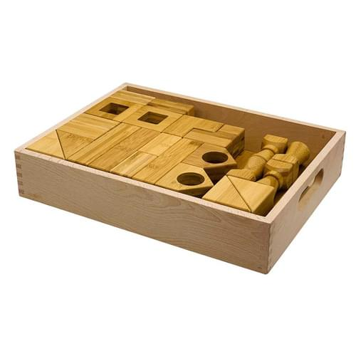 Block Play Set 2 (34 bamboo pieces in wooden tray)