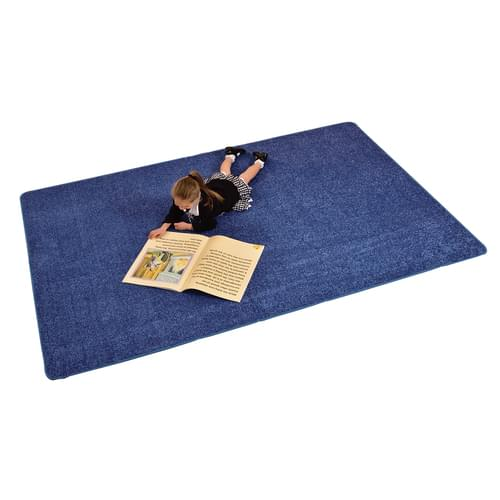 Solid Colour Rectangle Rug Blue
