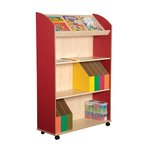 Mobile 3 Shelf & Display Bookcase Maple/Red
