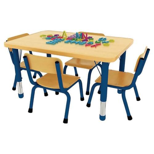 Milan Height Adjustable 4 Seater Rectangular Table Blue Frame
