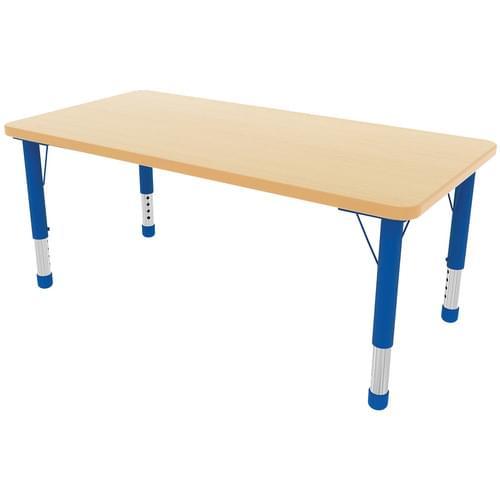 Milan Height Adjustable 6 Seater Rectangular Table Blue Frame