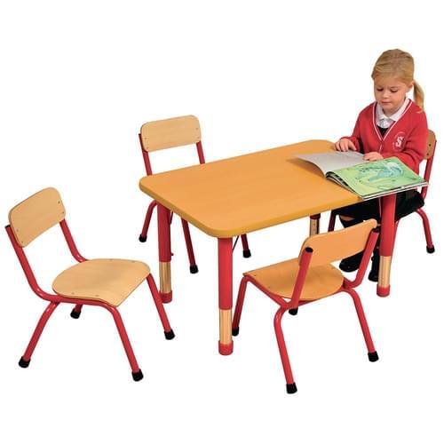 Milan Height Adjustable 4 Seater Rectangular Table Red Frame