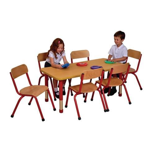Milan Height Adjustable 6 Seater Rectangular Table Red Frame
