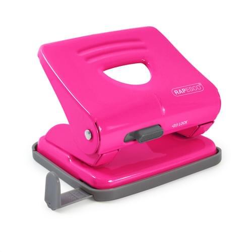 Rapesco 825 Metal 2 Hole Punch Hot Pink
