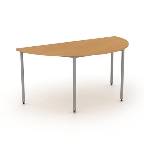 Semi-circular Multipurpose Table 1600x800mm - Silver Legs, Dijon Walnut MFC
