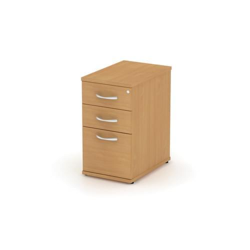 Universal 3 Drawer 600mm Deep Desk High Pedestal - Silver Handles, Dijon Walnut MFC
