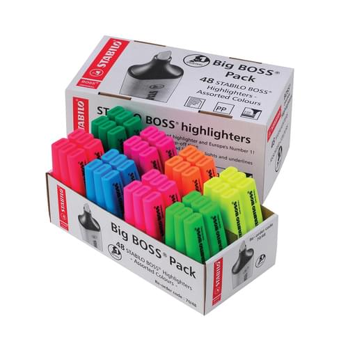 STABILO BOSS Highlighters 8 Assorted Colours Classpack of 48