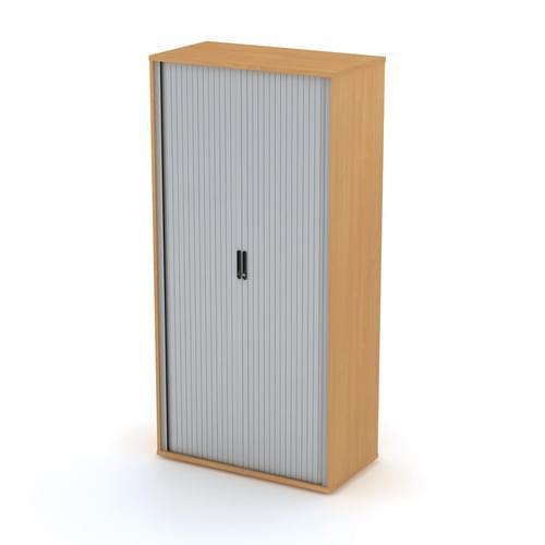 Universal Tambour Cupboard 1000x2062mm - Silver Doors, Verade Oak MFC