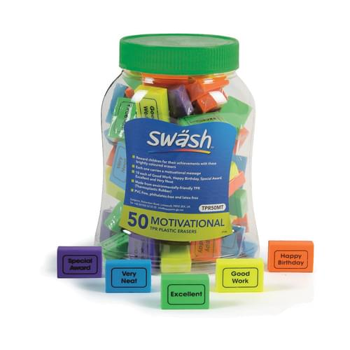 Swsh Motivational Erasers Tub 50
