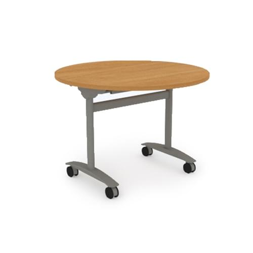 Reunion Circular Conference Table Dia 1000mm - Silver Tilting Frame, Canadian Maple MFC