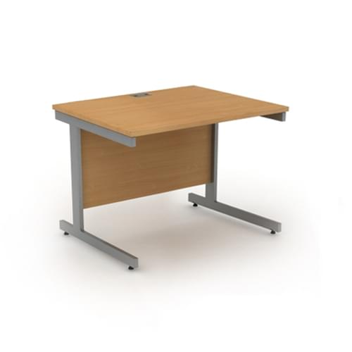 Sirius 800mm Cantilever Rectangular Workstation - Silver Frame, Canadian Maple MFC