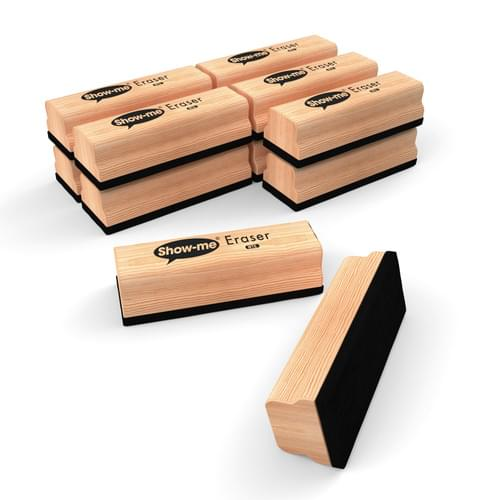 Show-me Large Wood Handle Board Erasers Pk12