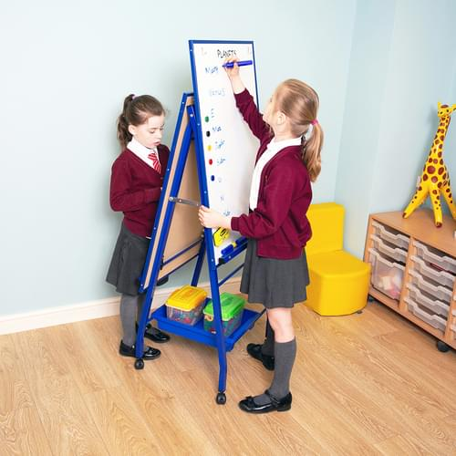 Standard A-Frame Mobile Magnetic Drywipe Easel Blue Double Boarded