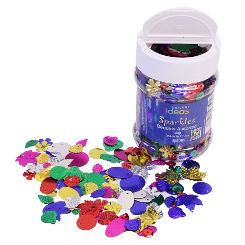 Assorted Craft Sequins & Spangles 100g