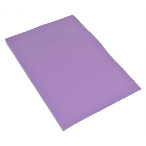 Rhino A4 Handwriting Books 4mm Blue Ruled Centred on 15mm Red Ruled Purple Cover 40 Pages