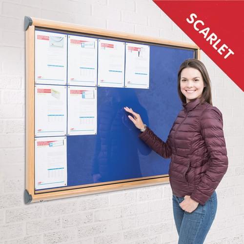 Shield Light Oak Effect Frame Exterior Showcase W1397 x H1050mm (18x A4) Scarlet Loop Nylon Cloth