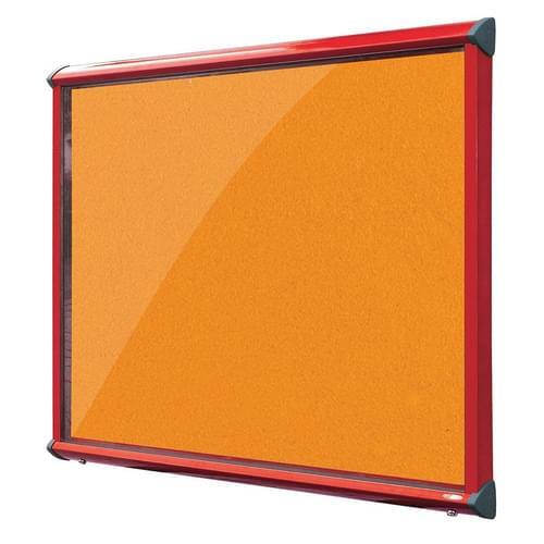 Shield Red Frame Exterior Showcase W752 x H1050mm (9x A4) Orange Loop Nylon Cloth