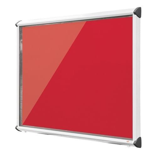 Shield White Frame Exterior Showcase W752 x H1050mm (9x A4) Scarlet Loop Nylon Cloth